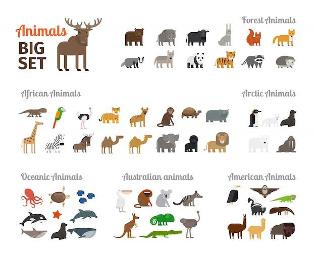 Tiere im flachen stil Premium Vektoren