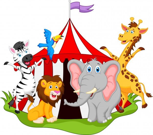 Tiere im zirkus cartoon Premium Vektoren