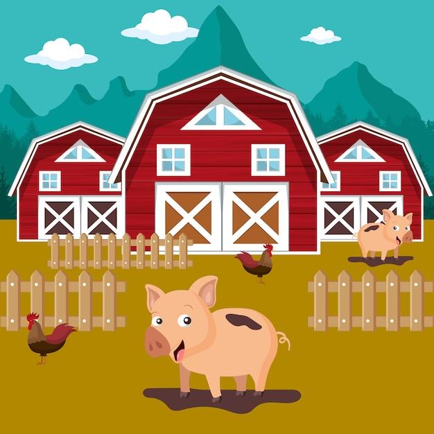 Tiere in der farmszene Premium Vektoren