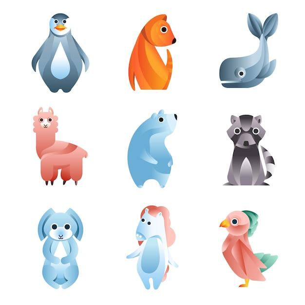 Tiere in einem geometrischen stil mit der verwendung von verläufen und glatten formen satz von bunten illustrationen Premium Vektoren