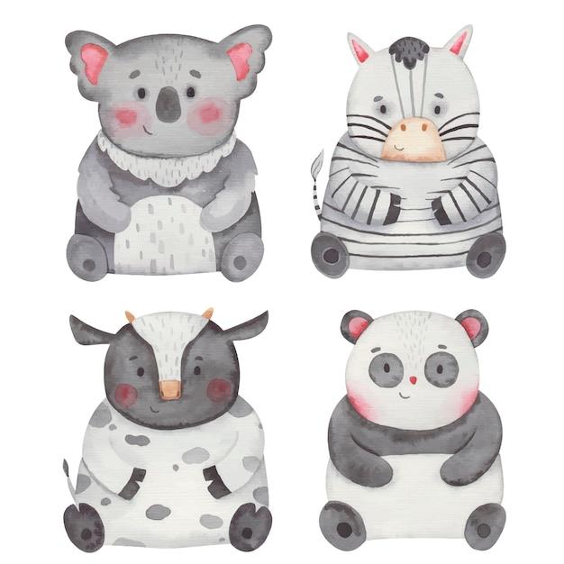 Tiere koala, kuh, zebra, panda aquarell illustration Premium Vektoren