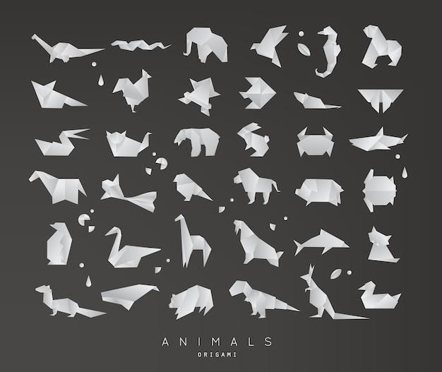 Tiere origami-set Premium Vektoren