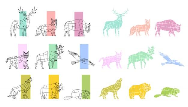 Tiere polygonal linear set Premium Vektoren