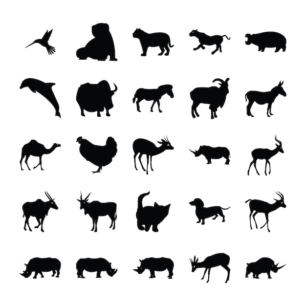 Tiere silhouette bundle Premium Vektoren