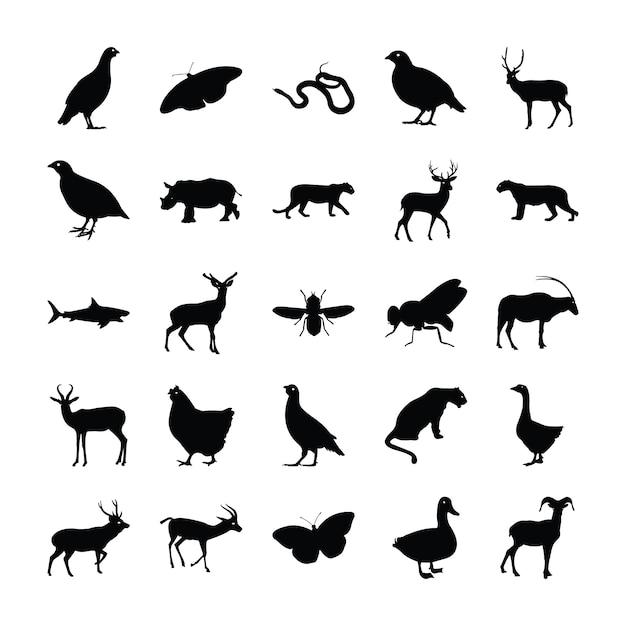 Tiere silhouette pack Premium Vektoren