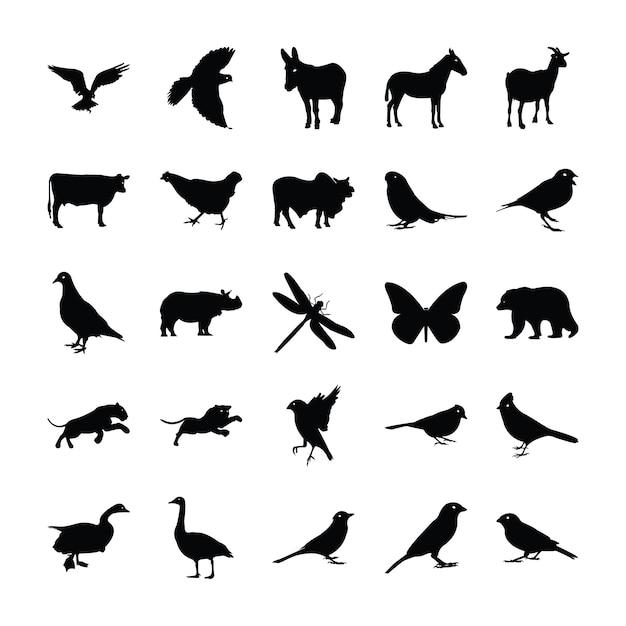 Tiere silhouette piktogramme Premium Vektoren