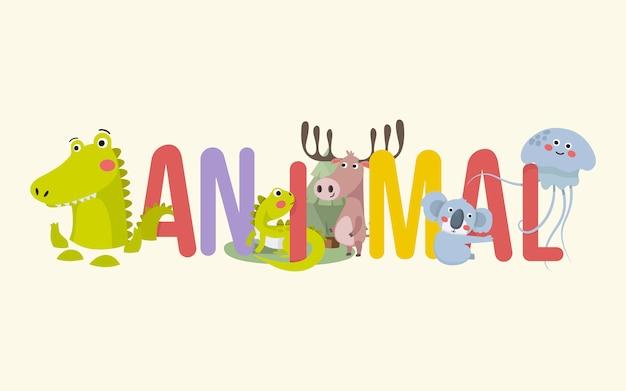 Tiere und typografie banner Premium Vektoren