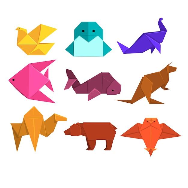 Tiere und vögel aus papier in origami-technik abbildungen Premium Vektoren