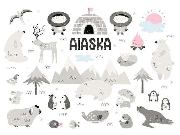 Tiere von alaska und eskimos. große menge von elementen, isolaten, objekten. scandi-stil. Premium Vektoren