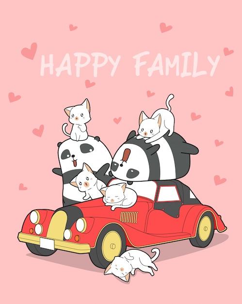 Tierfamilie und rotes auto. Premium Vektoren