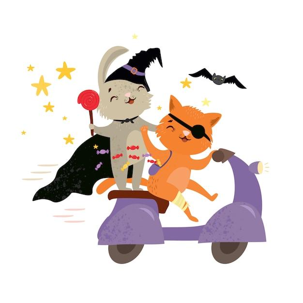 Tierfreunde der netten vektorillustration, die zu einer halloween-party gehen Premium Vektoren