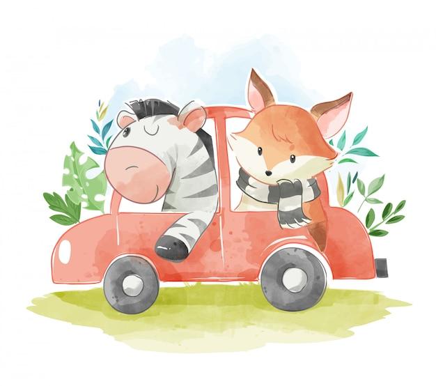 Tierfreunde in einer autoillustration Premium Vektoren