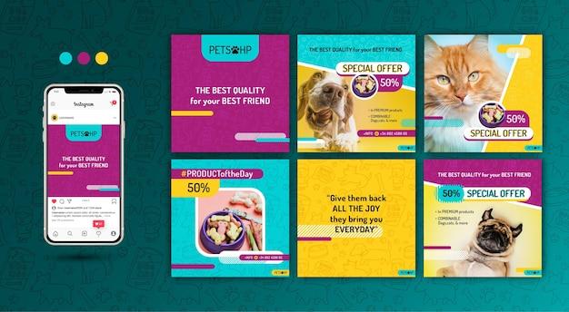 Tierfutter instagram beiträge Premium Vektoren