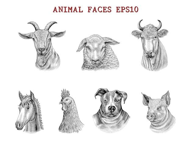 Tiergesichterhand zeichnen gravurartschwarzweiss-clipart lokalisiert auf weiß Kostenlosen Vektoren