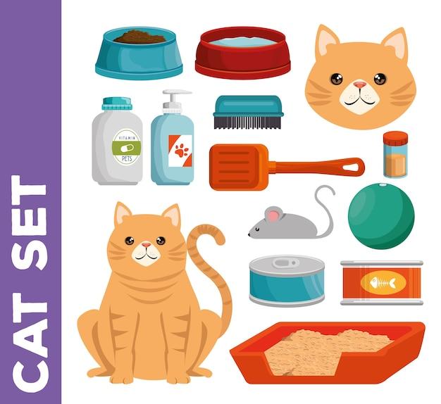 Tierhandlung katze stellen icons Premium Vektoren