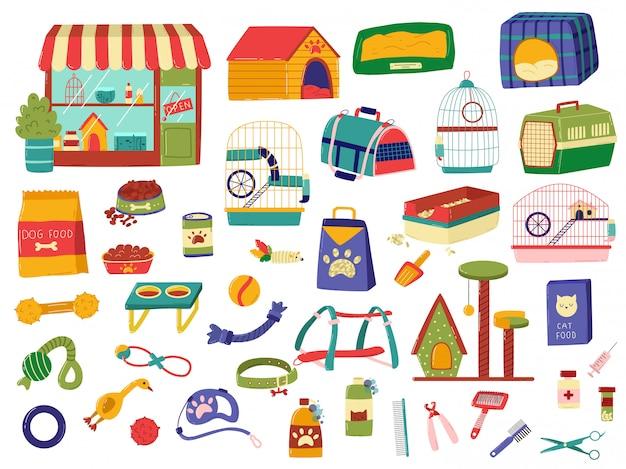 Tierhandlung sortiment, produkte für tiere, satz von hand gezeichneten gegenständen auf weiß, illustration Premium Vektoren