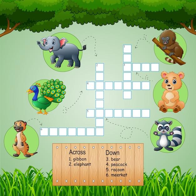 Tierische kreuzworträtsel für kinderspiele Premium Vektoren