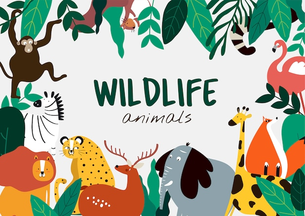Tierkarikaturart-tierschablonenvektor der wild lebenden tiere Kostenlosen Vektoren