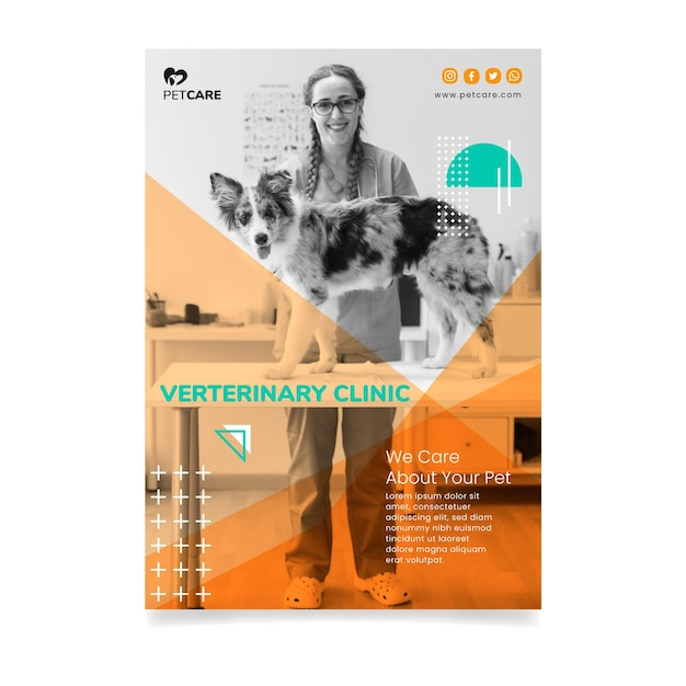 Tierklinik und gesunde haustiere frau und hund flyer Kostenlosen Vektoren
