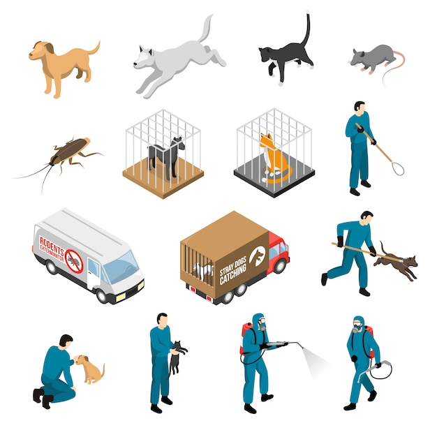 Tierkontrolldienst-isometrie-set Kostenlosen Vektoren