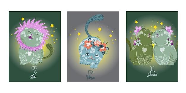 Tierkreiskarten mit niedlichen cartoonkatzencharakteren Premium Vektoren