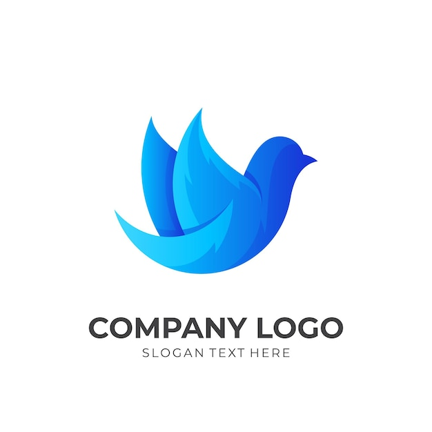 Tierlogo mit einfachen symbolen, blaue symbolvorlage Premium Vektoren