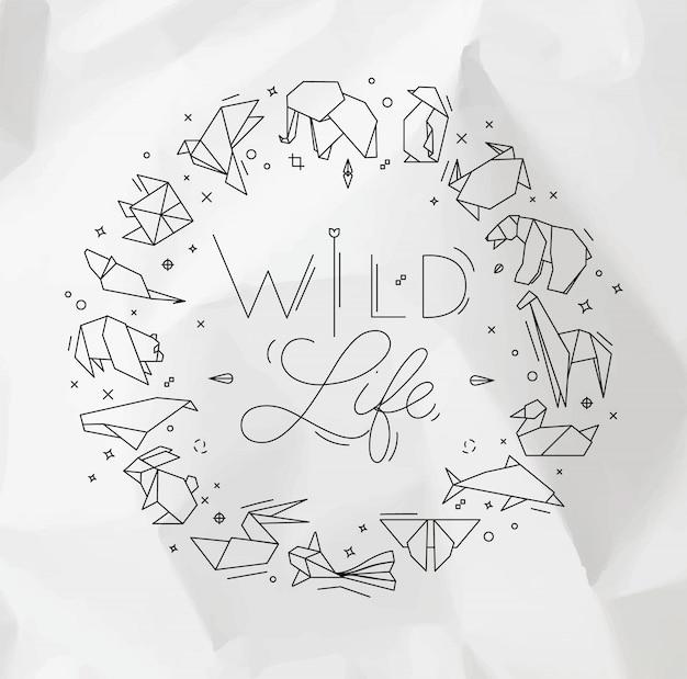 Tierorigamimonogramm, das wildes leben beschriftet Premium Vektoren