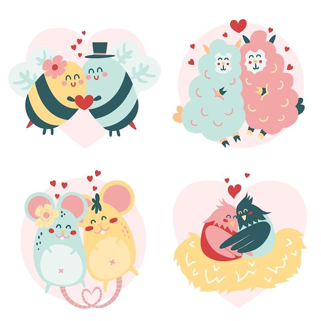 Tierpaare des schönen valentinsgrußes Kostenlosen Vektoren