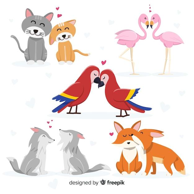 Tierpaarsammlung des valentinstags Kostenlosen Vektoren