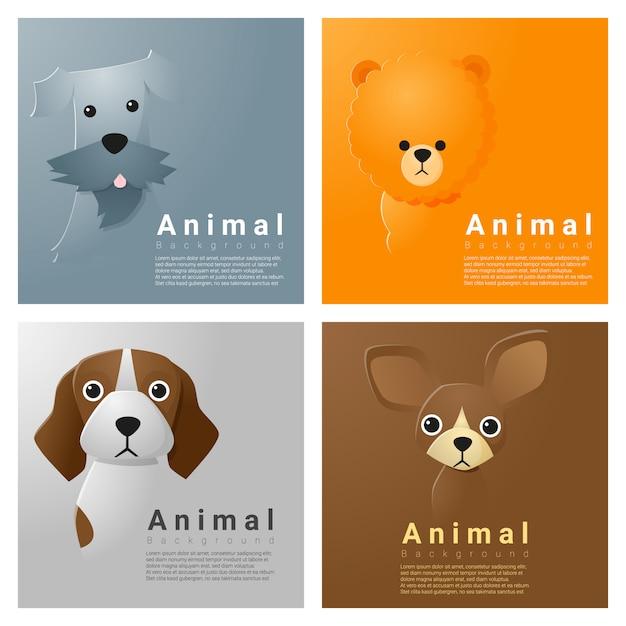 Tierporträtsammlung mit hunden Premium Vektoren