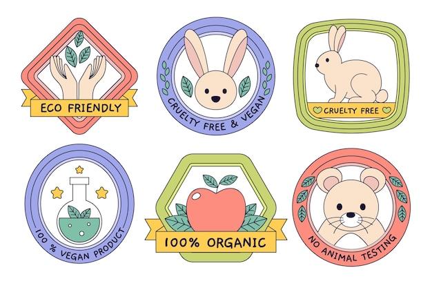 Tierquälerei freie abzeichen flache design farbige sammlung Kostenlosen Vektoren