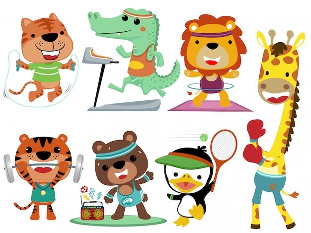 Tiersport-karikatursammlungssatz Premium Vektoren