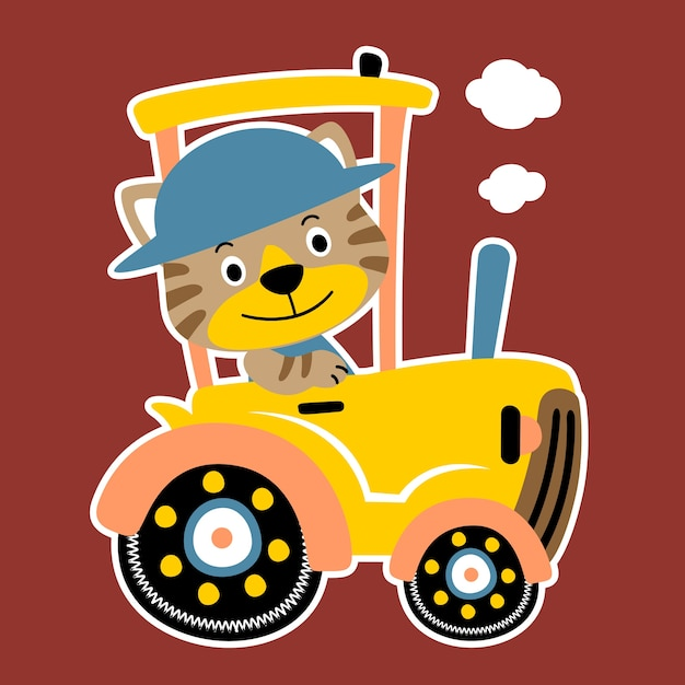 Tiger Auf Traktor Cartoon Vektor Download Der Premium Vektor