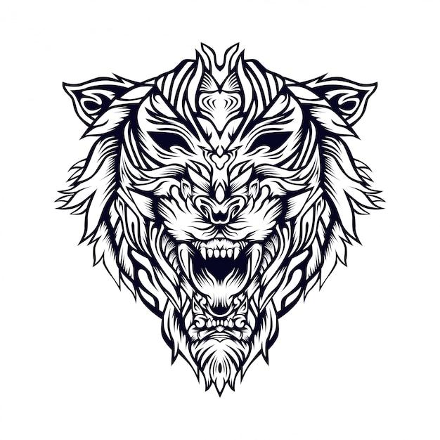 Tiger axa illustration Premium Vektoren