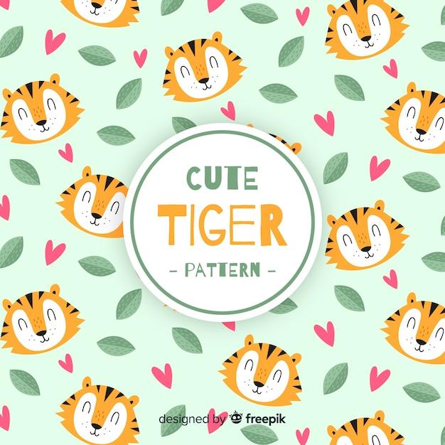 Tiger, blätter und herzmuster Kostenlosen Vektoren