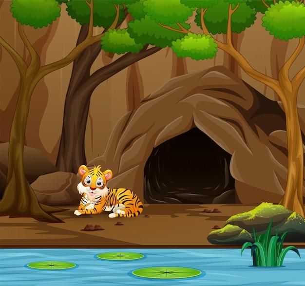 Tiger cartoon vor der höhle Premium Vektoren