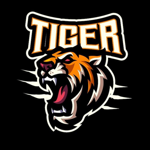 Tiger head maskottchen logo für das esport- und sportteam Premium Vektoren
