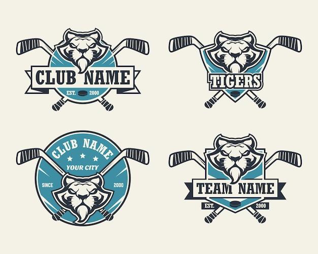 Tiger head sport logo. satz hockey-logos. Premium Vektoren