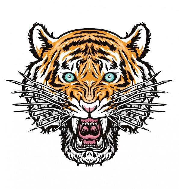 Tiger kopf abbildung Premium Vektoren