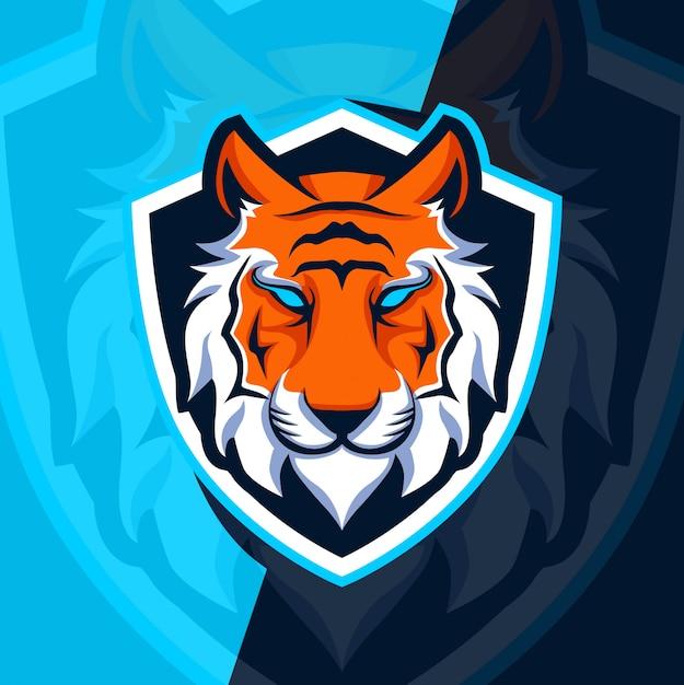 Tiger maskottchen esport logo design Premium Vektoren