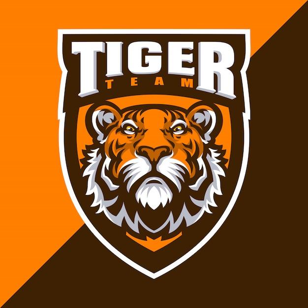 Tiger maskottchen logo sport. Premium Vektoren