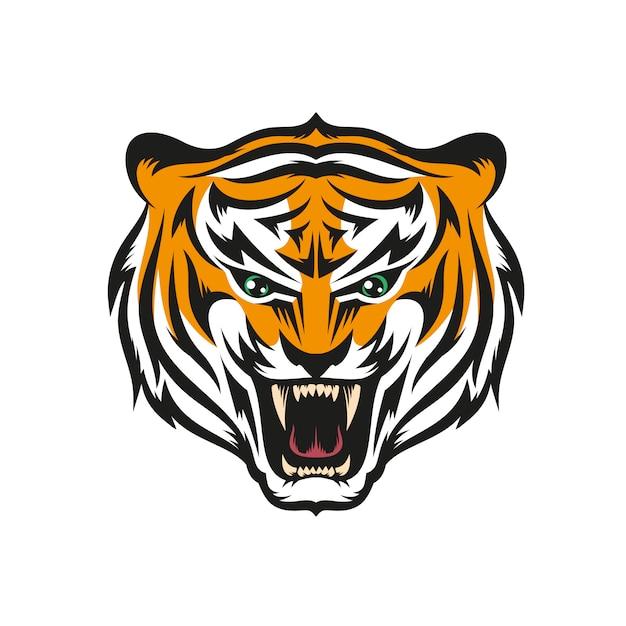 Tiger mit einem grinsen Premium Vektoren