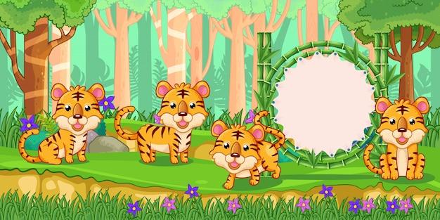 Tiger mit einem leeren zeichenbambus im wald Premium Vektoren