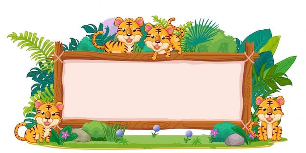 Tiger mit einem leeren zeichenholz Premium Vektoren