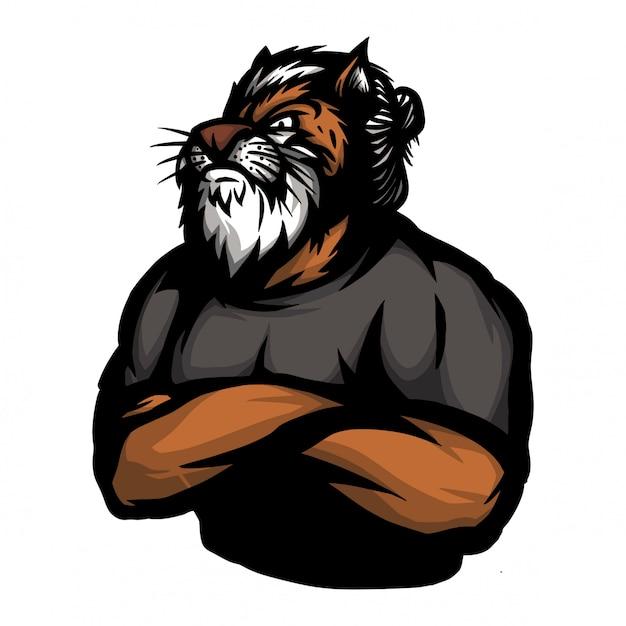 Tiger mit menschlichem körper in der querhandhaltung Premium Vektoren