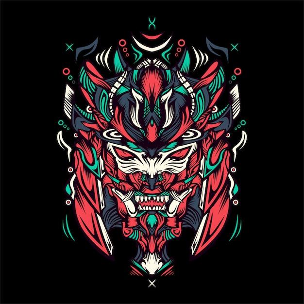 Tiger mit samuraisturzhelmillustration Premium Vektoren