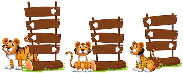 Tiger nex zu holzschildern Kostenlosen Vektoren