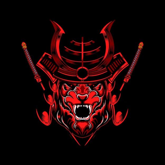 Tiger warrior illustration Premium Vektoren