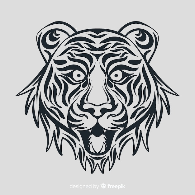 Tigergesicht mit stammes- art Kostenlosen Vektoren