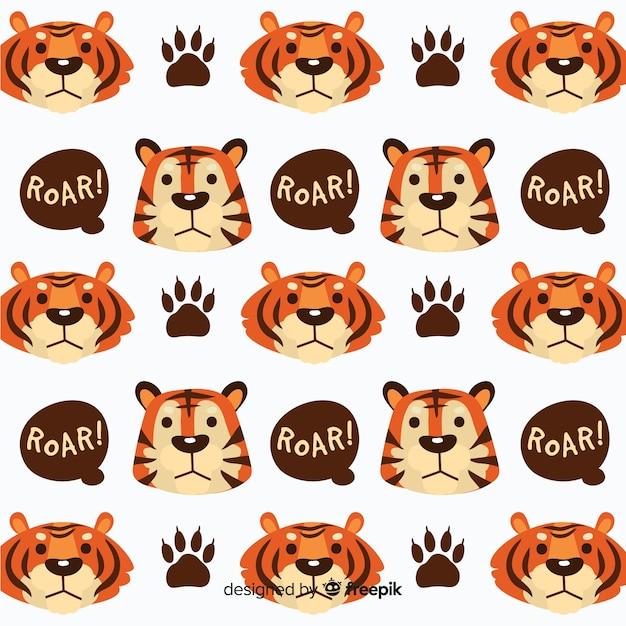 Tigergesichter und spracheblasenmuster Kostenlosen Vektoren